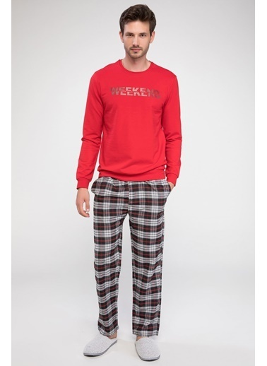 DeFacto Baskılı Pijama Üstü Bordo